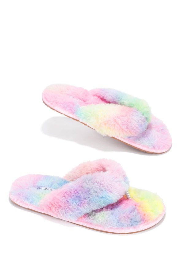 AZARIA PURELY PERFECT FUR SLIDES-PASTEL