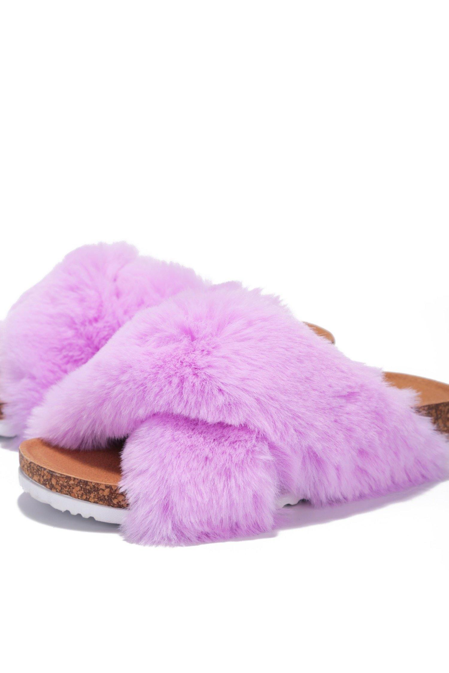 CHILLON SUPER SOFT FEELS FUR SLIDES-PURPLE