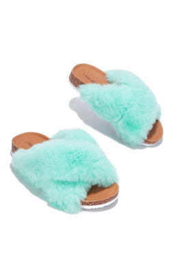 CHILLON SUPER SOFT FEELS FUR SLIDES-MINT
