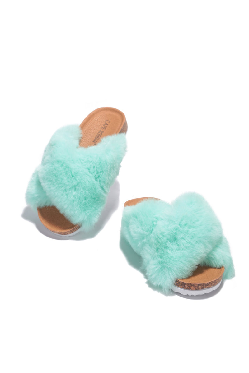 CHILLON SUPER SOFT FEELS FUR SLIDES-MINT - FlashyBox