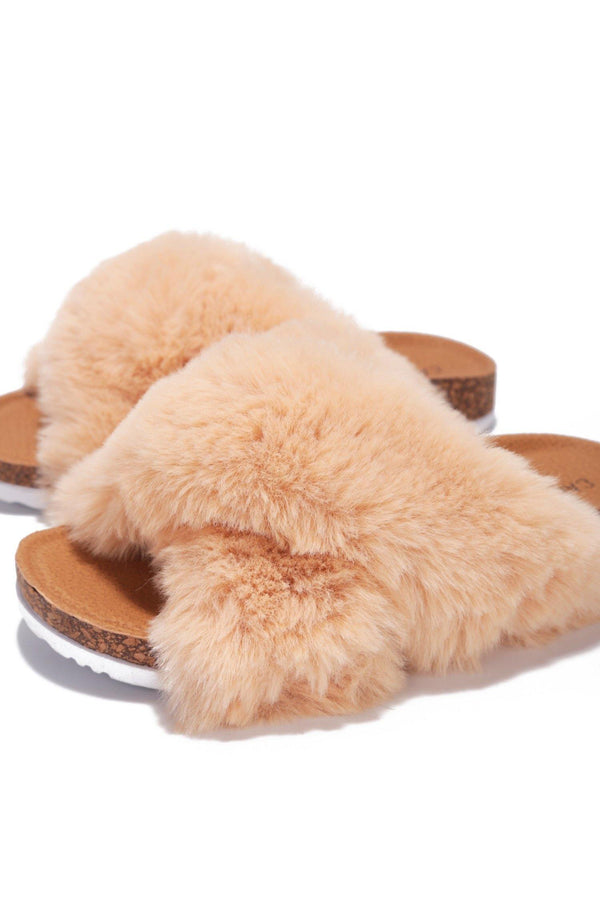 CHILLON SUPER SOFT FEELS FUR SLIDES-NUDE