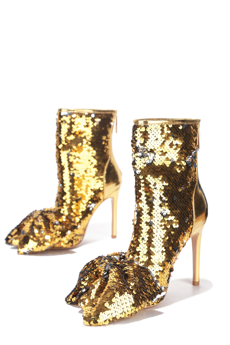 LAZO SHINING GLAM SEQUIN HEELED BOOTIES-GOLD