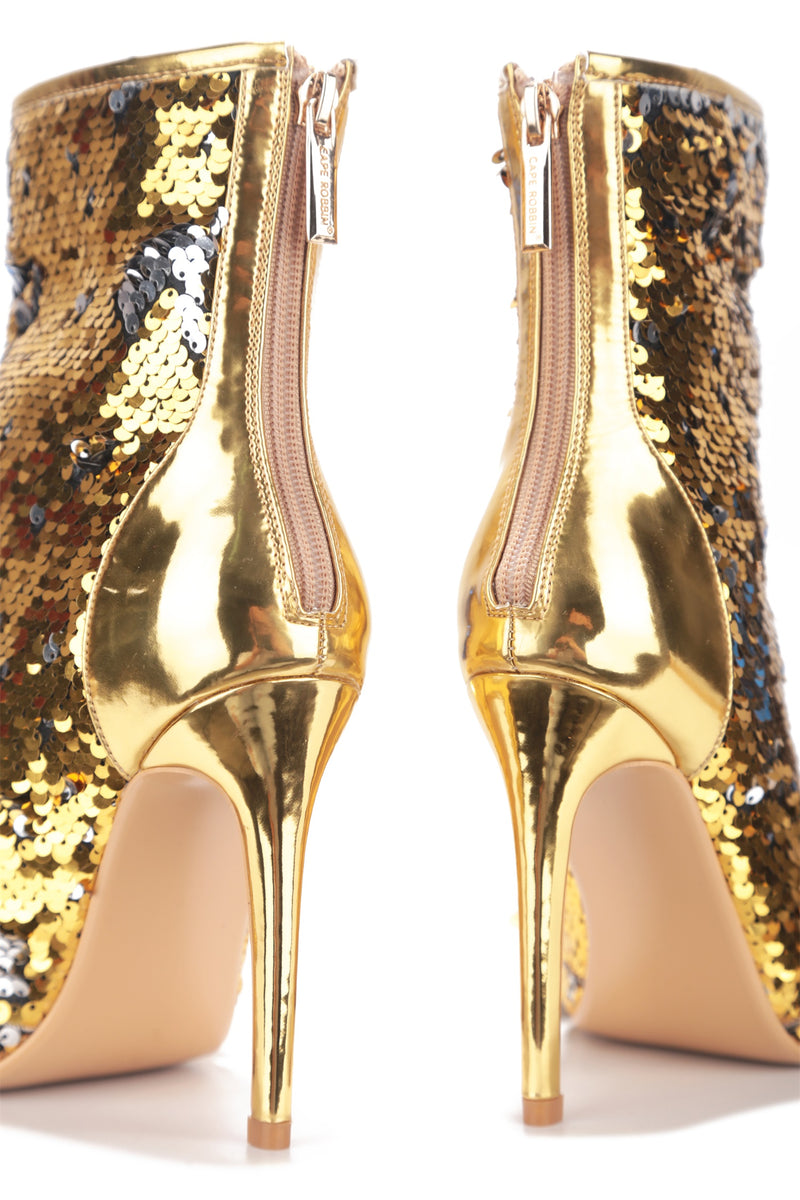 LAZO SHINING GLAM SEQUIN HEELED BOOTIES-GOLD - FlashyBox