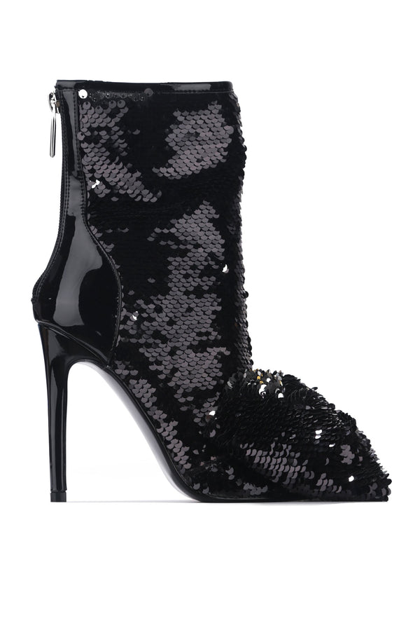 LAZO SHINING GLAM SEQUIN HEELED BOOTIES-BLACK - FlashyBox