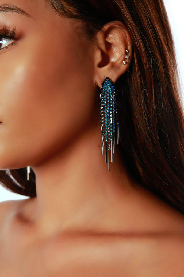 TRI-ANGLE EARRINGS-BLUE - FlashyBox