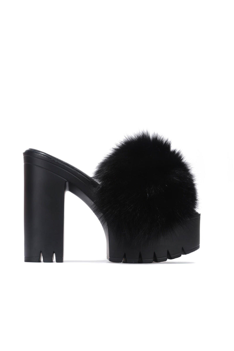 CHARDONNAY GROWL POWER HEELED FUR SANDALS-BLACK