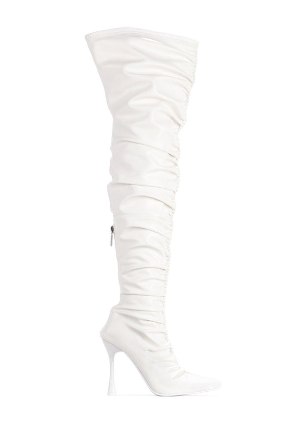 WHATSIS PRETTY IN THIGH HIGH BOOTS-WHITE