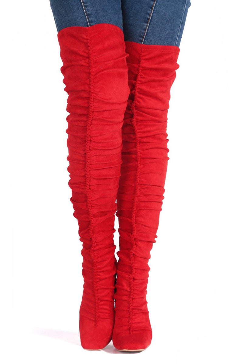 WHATSIS PRETTY IN THIGH HIGH BOOTS-RED