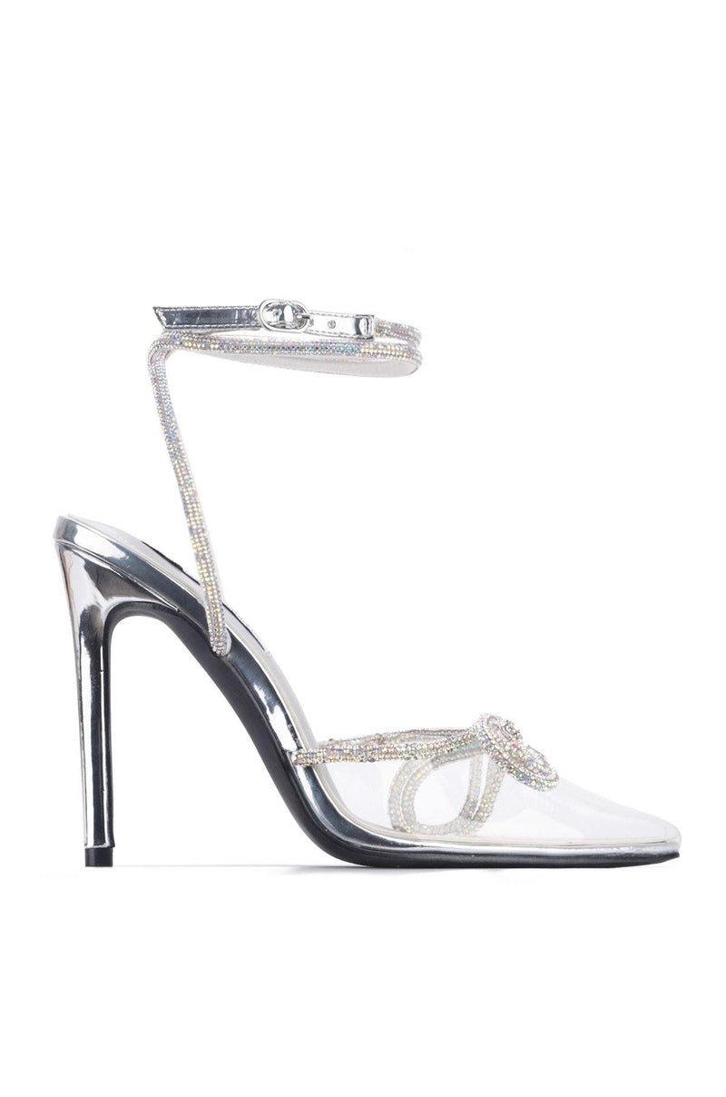 CHRISTIE WHERE THE LOVE IS HEELED SANDALS-SILVER - FlashyBox