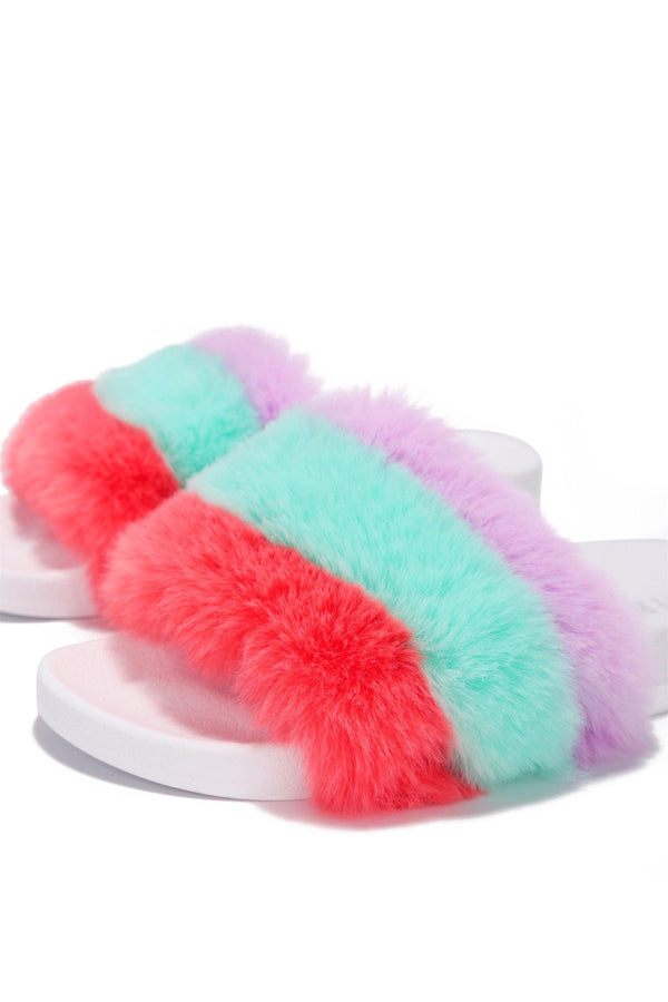 MUSICAL RAINBOW FURRY COMFORTABLE SLIDES-WHITE