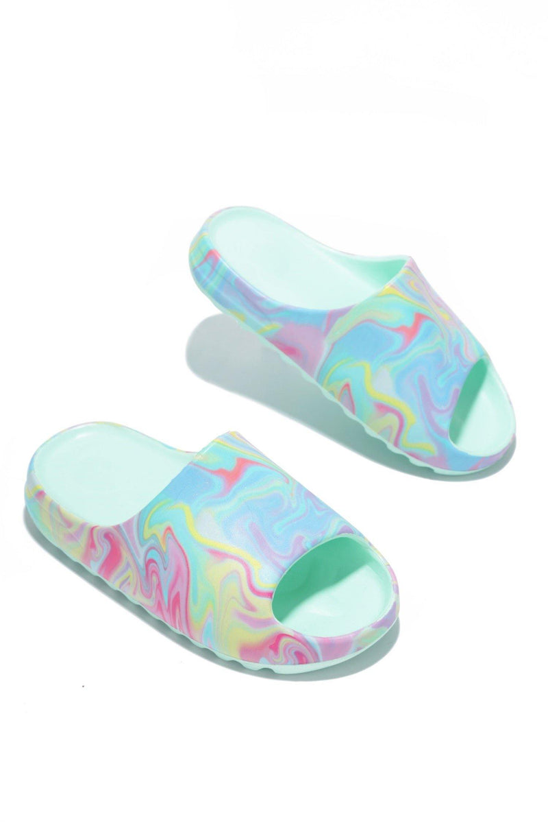 ELINA PAINTED SANDALS WITH BACK STRAP-MINT