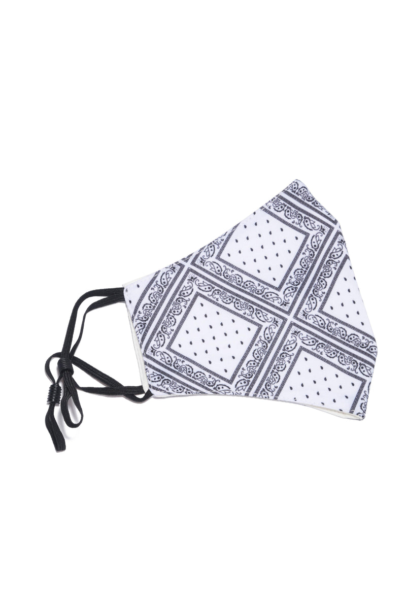 SONIQUE BANDANA FACE MASK-WHITE