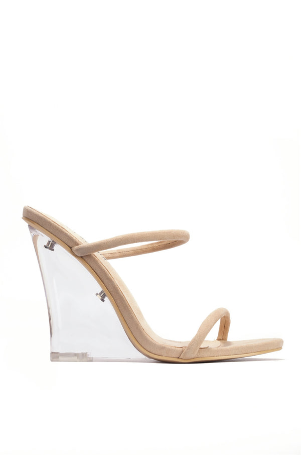 STATIC ON THE RADIO SLIP ON LUCITE WEDGE-NUDE