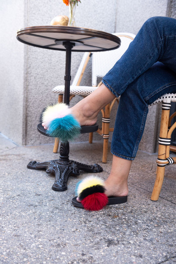 FLURRY FOX FUR FLAT SLIPPERS-MULTI COLOR