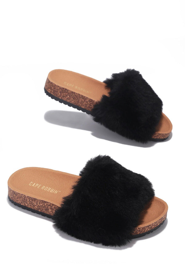 MAYFAIR CHILLED OUT FUR SLIDE ON SANDALS-BLACK