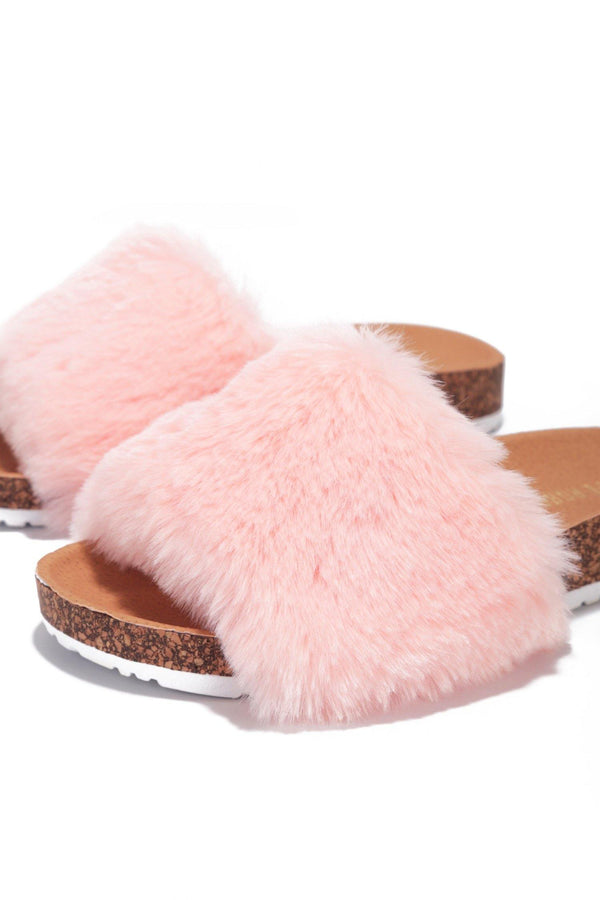 MAYFAIR CHILLED OUT FUR SLIDE ON SANDALS-PINK