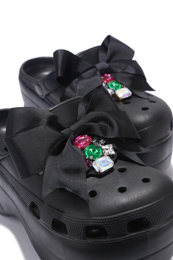 SUMO CHUNKY PLATFORM SANDAL WITH BOW-BLACK