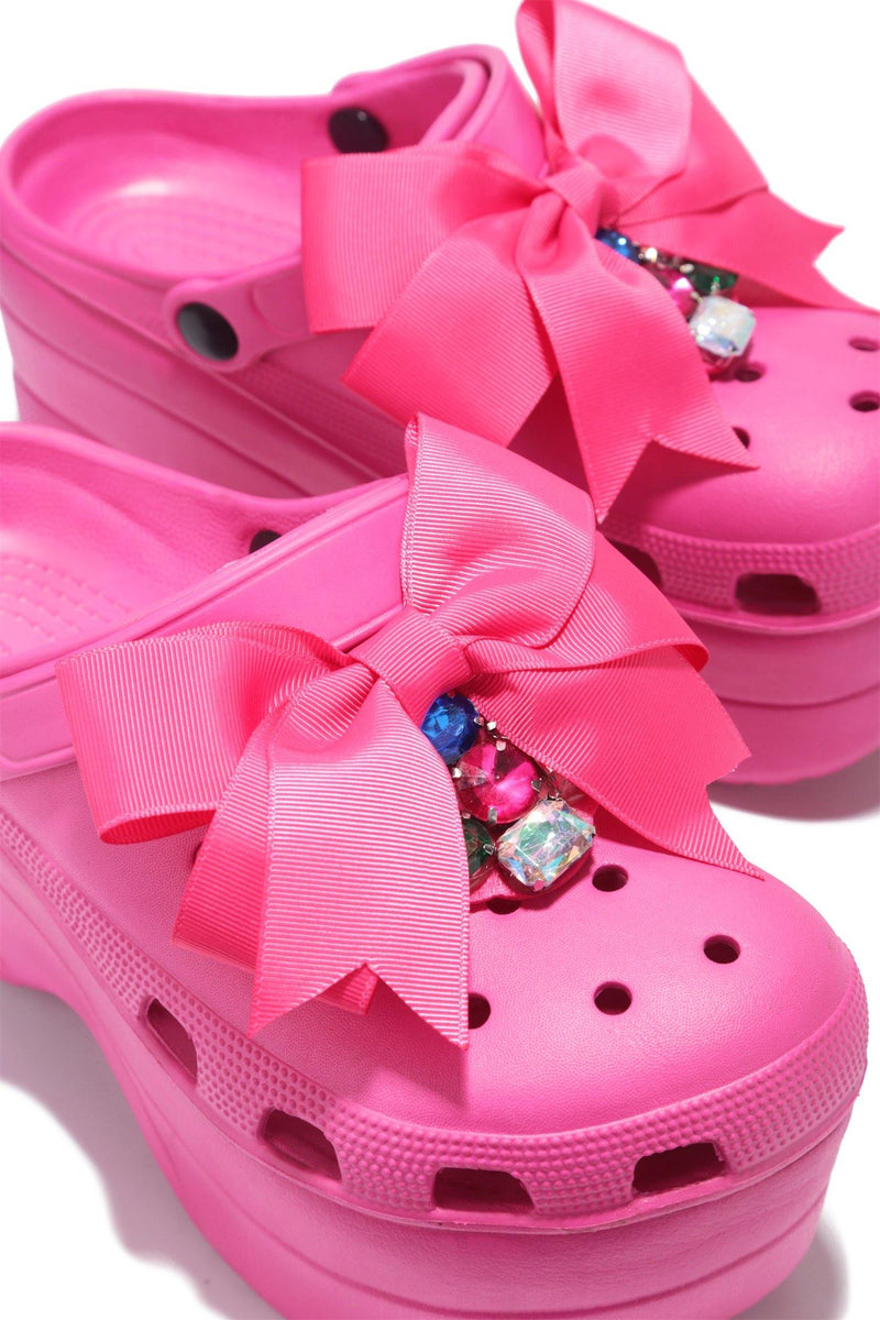 SUMO CHUNKY PLATFORM SANDAL WITH BOW-FUCHSIA