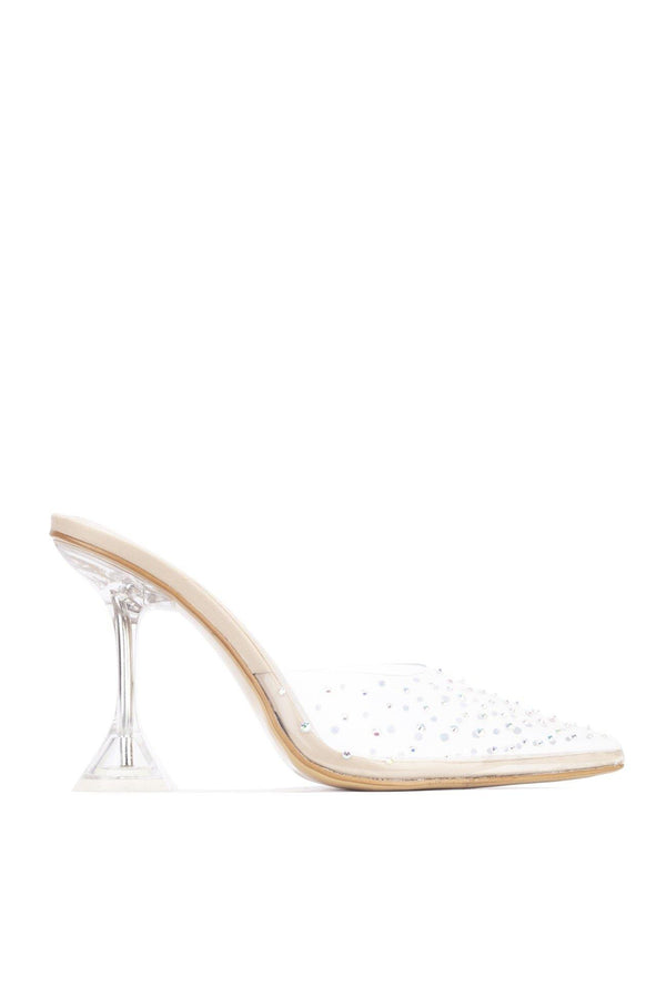 VIRTUAL LUCITE OF YOU CLEAR HEEL MULE-NUDE