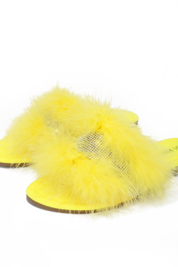 EASTER GOOD SLIDES RIHNSTONE FUR SANDALS-YELLOW