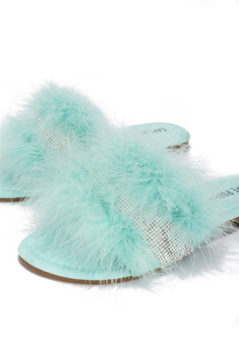 EASTER GOOD SLIDES RIHNSTONE FUR SANDALS-MINT