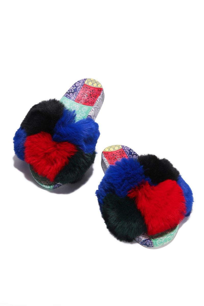 BESSIE BANDANA PRINT FUR SLIDES-MULTI COLOR