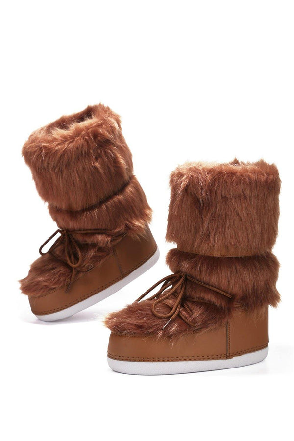 LAVA LACE UP FUR MOON BOOTS-TAN