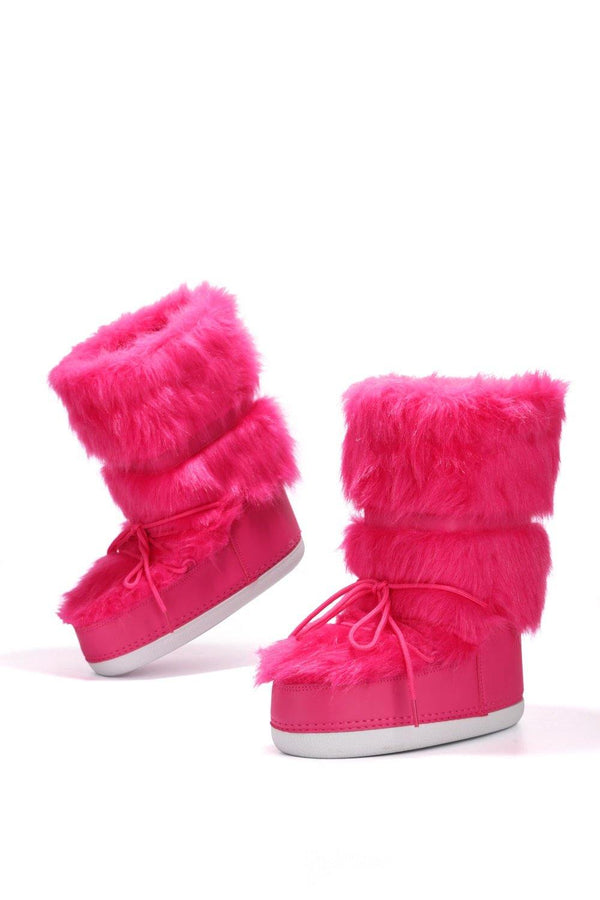 LAVA LACE UP FUR MOON BOOTS-PINK