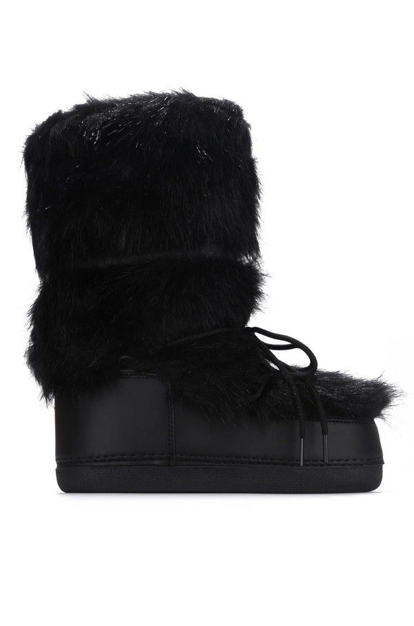 LAVA LACE UP FUR MOON BOOTS-BLACK