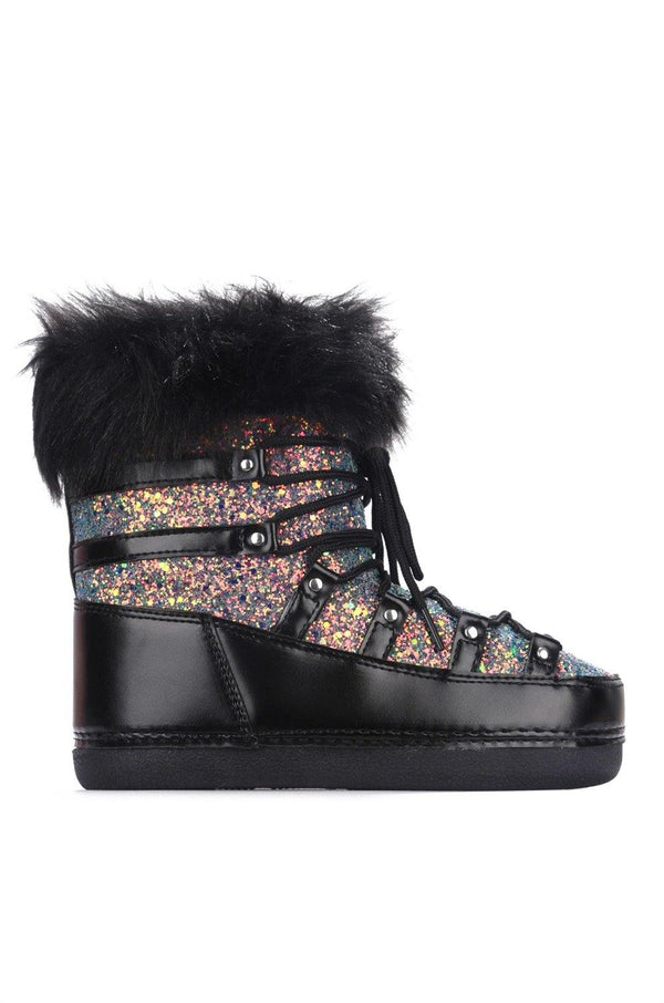 POLAR SNOW ANGEL LACE UP FUR MOON BOOTS-BLACK