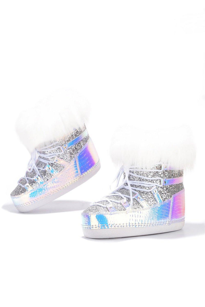 POLAR SNOW ANGEL LACE UP FUR MOON BOOTS-HOLO