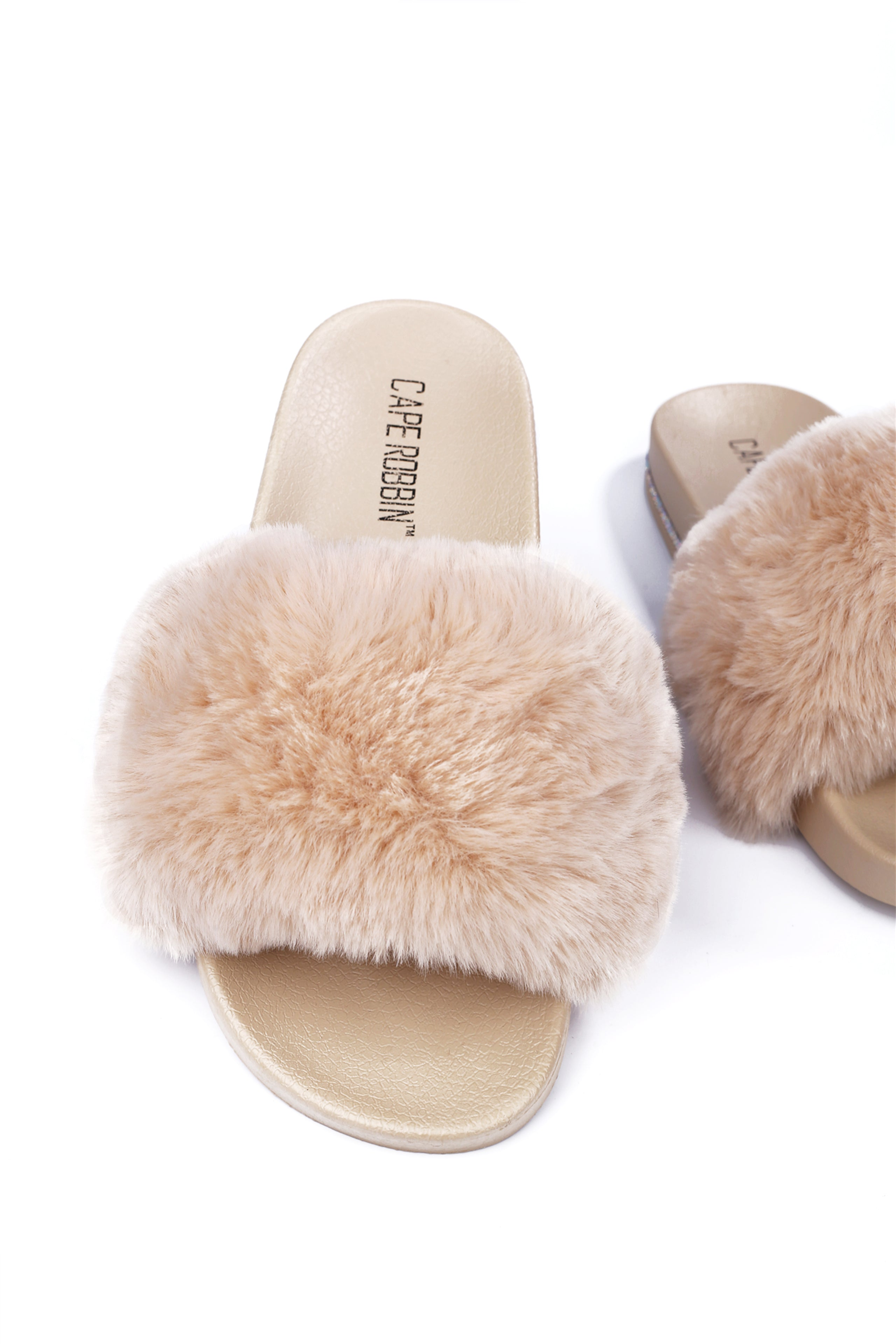 BOO VOGUE THE HOUSE SOFT FUR SLIDES-NUDE