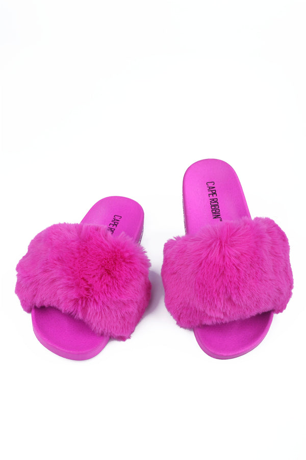 BOO VOGUE THE HOUSE SOFT FUR SLIDES-PINK