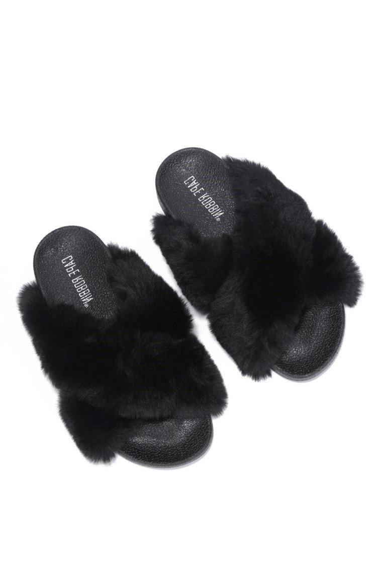 GRANDE ME SOME COMFORT FUR SLIDES-BLACK