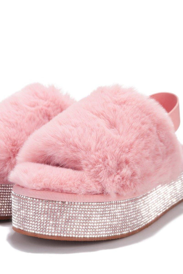 LODI EXTRA COMFY RHINESTONE PLAYFORM FUR SANDALS-BLUSH
