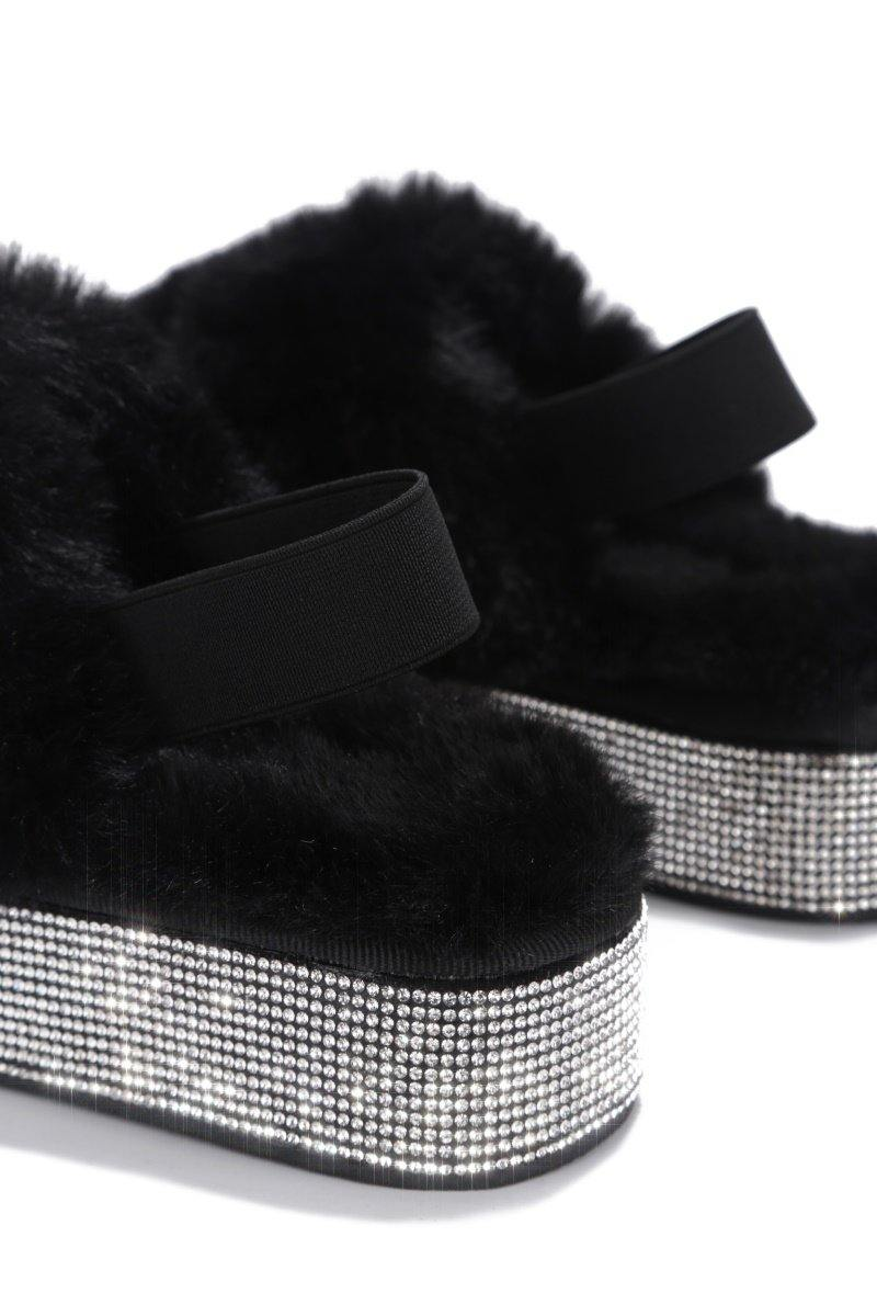 LODI EXTRA COMFY RHINESTONE PLAYFORM FUR SANDALS-BLACK