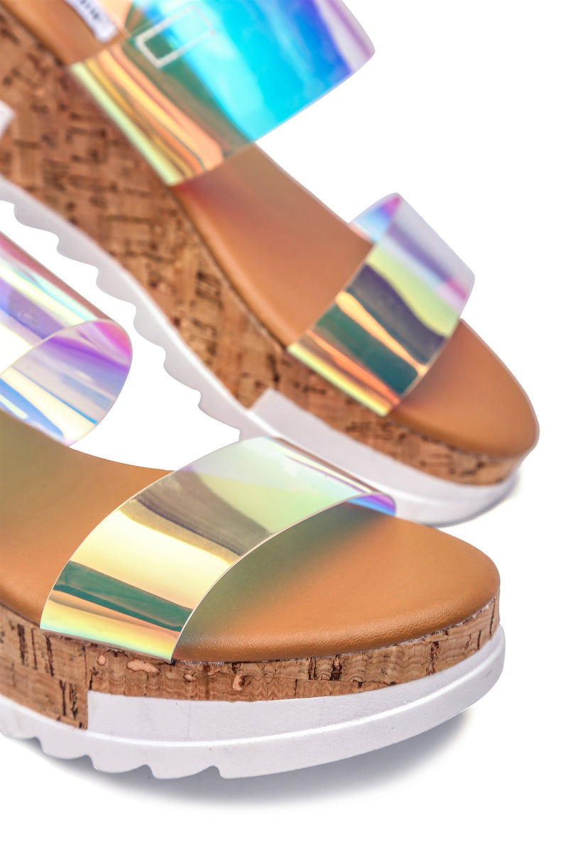 Cape Robbin AQUAHOLIC SUGAR AND SPICE TWO STRAP FLATFORM SANDALS-IRIDESCENT FLATS | flashybox.myshopify.com