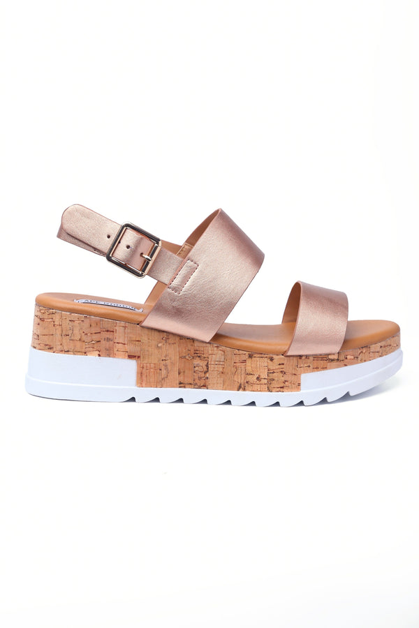 Cape Robbin AQUAHOLIC SUGAR AND SPICE TWO STRAP FLATFORM SANDALS-ROSE GOLD FLATS | flashybox.myshopify.com