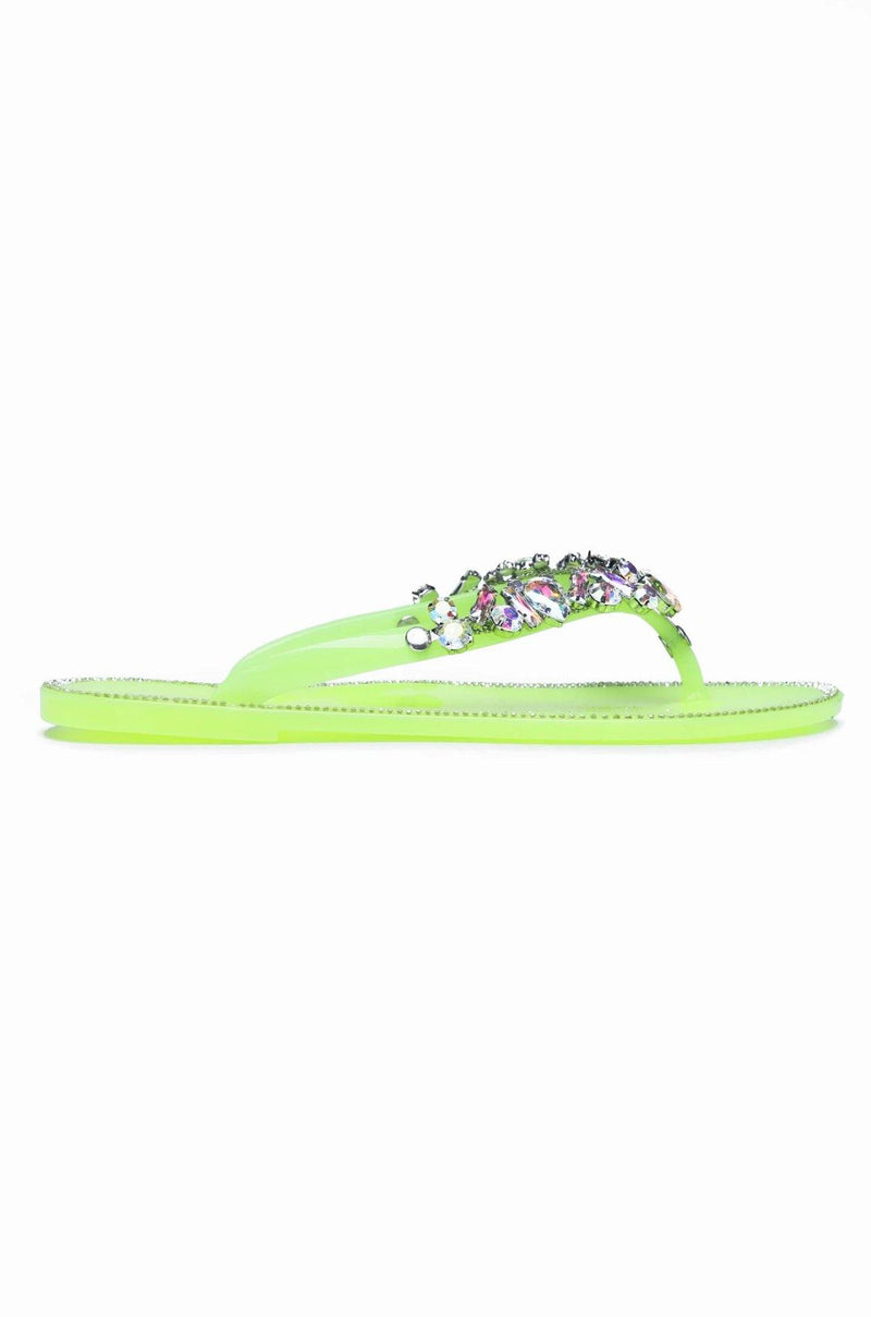 Cape Robbin BELLAGIO JELLY SANDAL-LIME FLATS | flashybox.myshopify.com