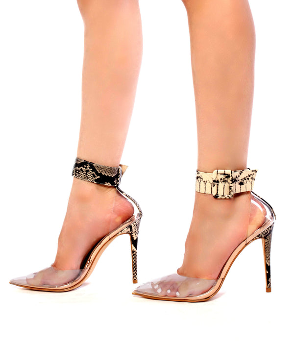 Cape Robbin | Calista Transparent Clear Stiletto High Heel Pumps-Snake