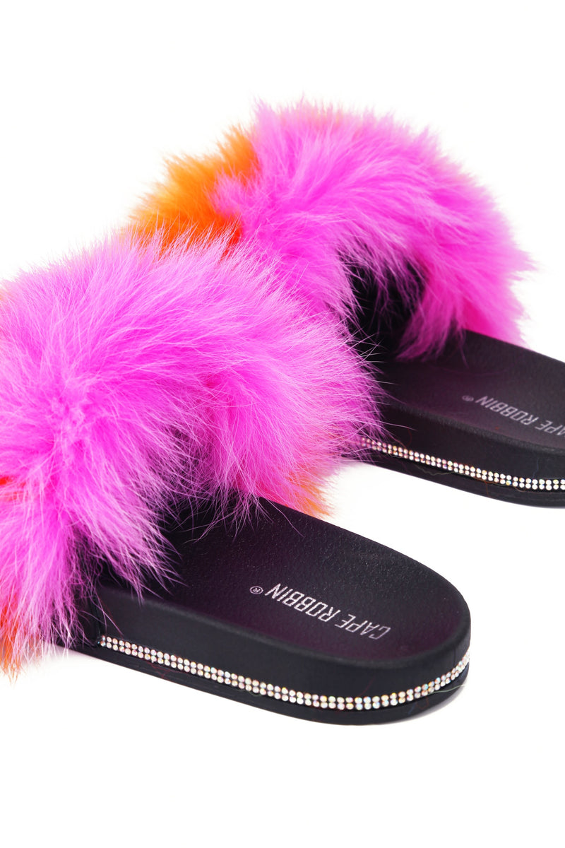 Cape Robbin CASINO MY SECRET FEATHER FLAT SLIP-PINK FLATS | flashybox.myshopify.com