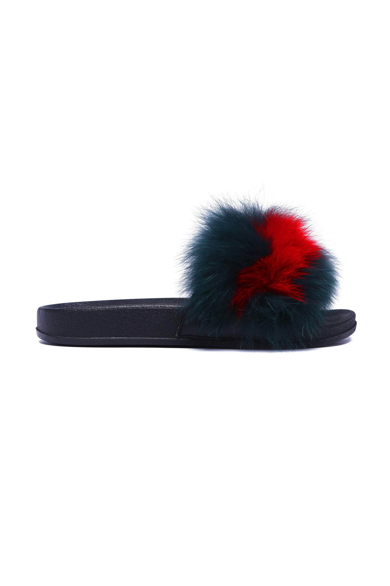 FLURRY Fluffy Fox Fur Flat Slippers -Green