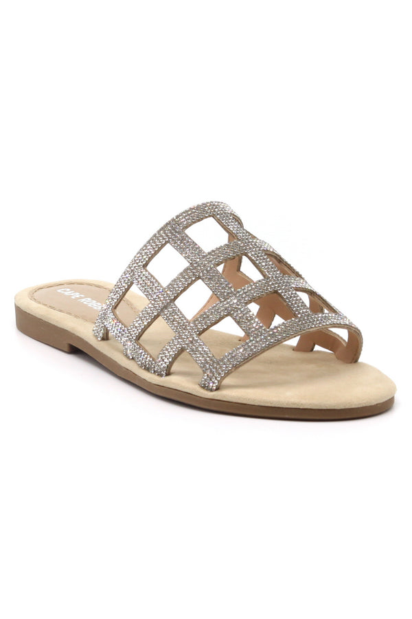 MILANA ROUND OPEN TOE FLAT SLIP ON SLIDE SANDAL- NUDE