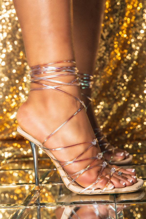 Cape Robbin MY BAD TOMB RAIDER STRAPPY LACE UP STILETTO HEEL-NUDE HEELS | flashybox.myshopify.com