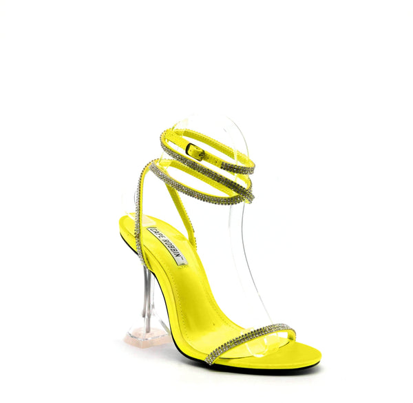 Cape Robbin | OCTAVIA Square Stiletto High Heel Ankle Strap Sandal-Lime