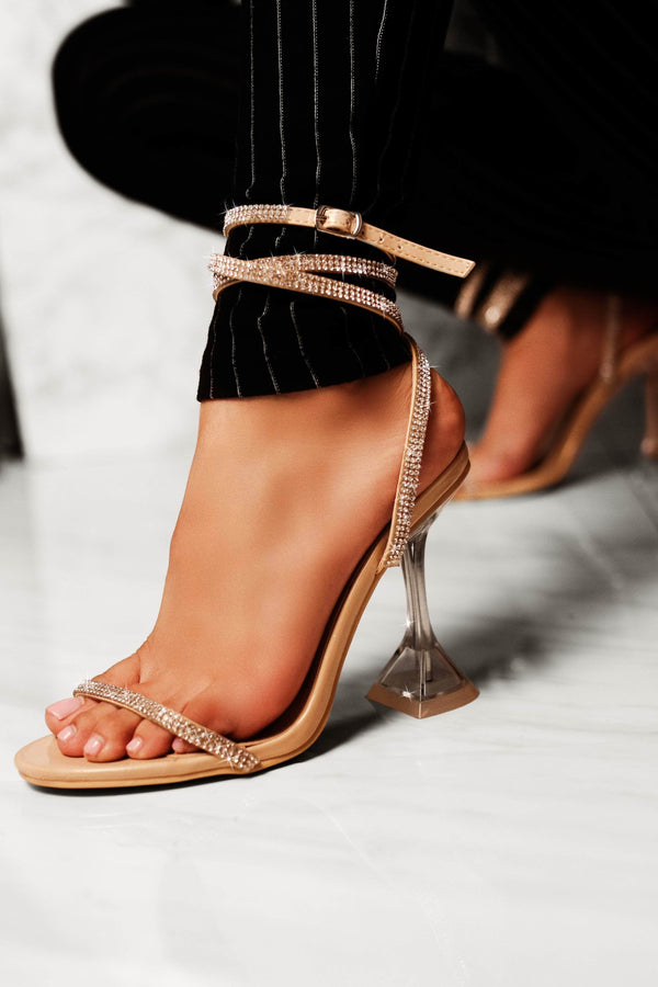 Cape Robbin | OCTAVIA Square Stiletto High Heel Ankle Strap Sandal-Nude