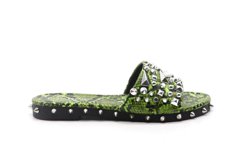 Cape Robbin | Tonie Stud Spike Flat Open Toe Slip On Slide Sandal