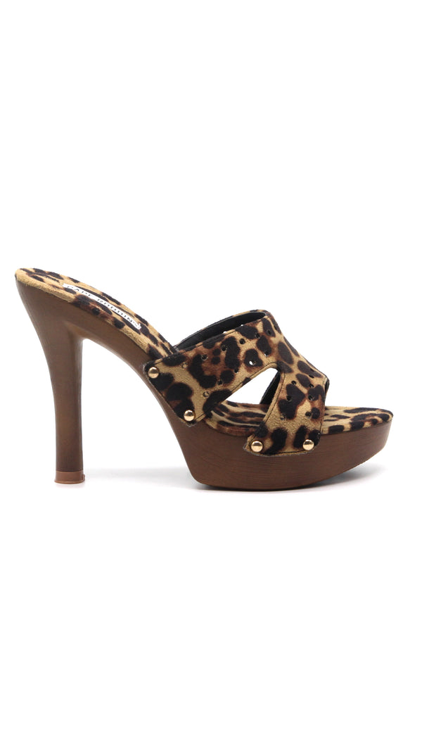 WILD THING SNAKE PRINT OPEN TOE LOW PLATFORM HEEL-LEOPARD