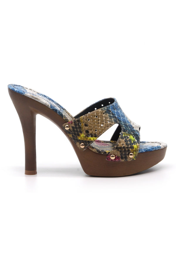 WILD THING SNAKE PRINT OPEN TOE LOW PLATFORM HEEL-MULTI SNAKE