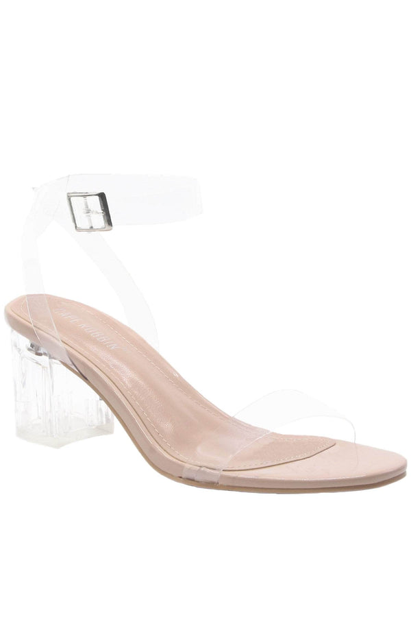 Cape Robbin | Wisdom Low Heel Clear Transparent PVC Strappy Sandal- Nude